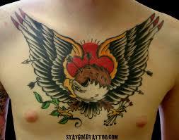 Arrow Head Eagle Tattoo On Chest