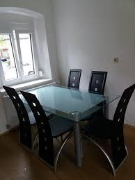 glastisch mit 6 sesseln