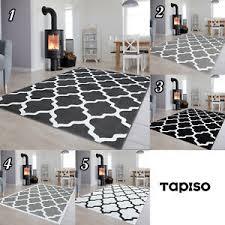 details zu dekoration kurzflor teppich gitter in grau schwarz weiß modern muster wohnzimmer