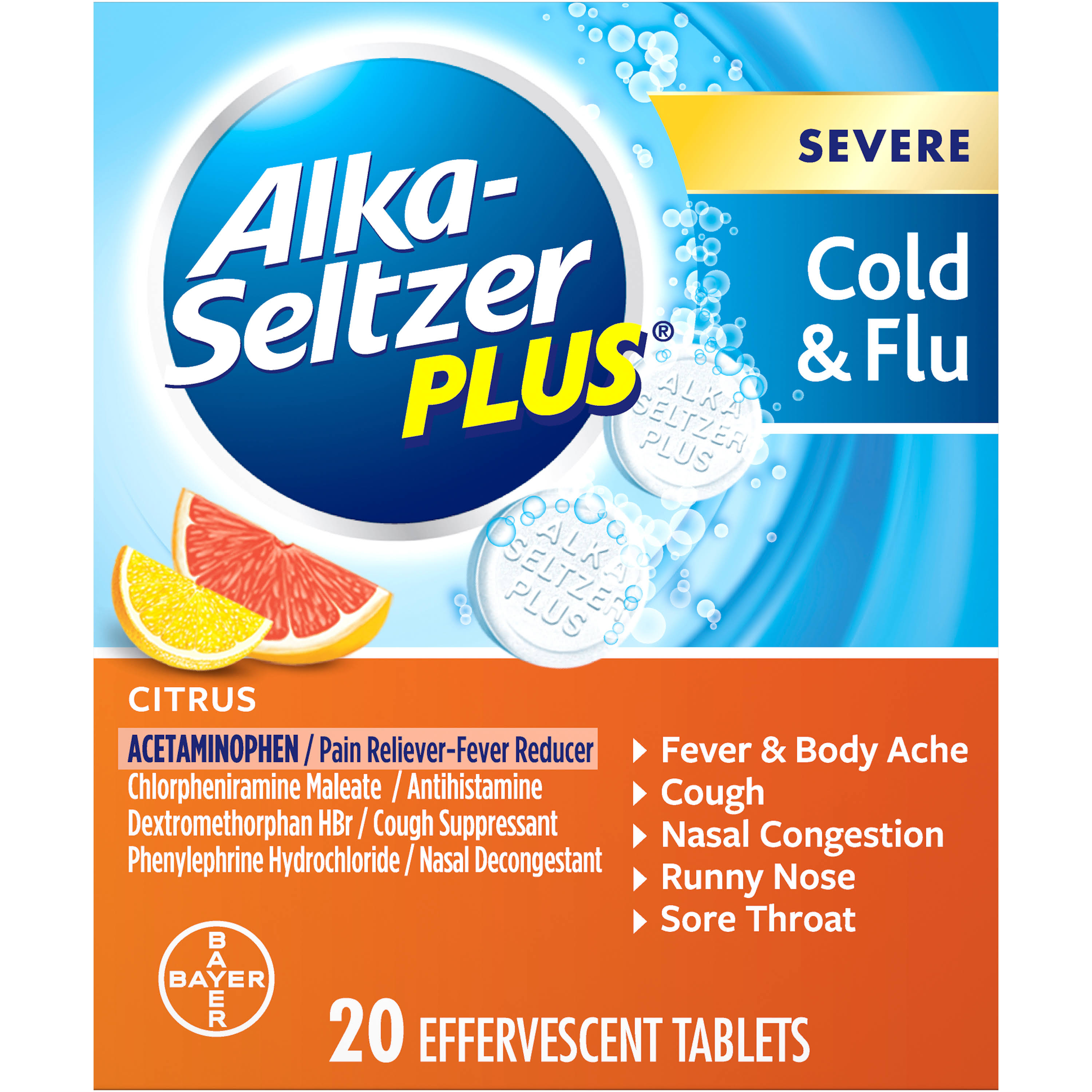 Alka-Seltzer Plus Severe Cold & Flu Effervescent Tablet - Citrus, 20ct