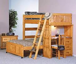 Amazon Twin Over Full Loft Bed with Desk End in Cinnamon