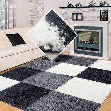 hochflor langflor wohnzimmer shaggy teppich kariert schwarz weiss grau