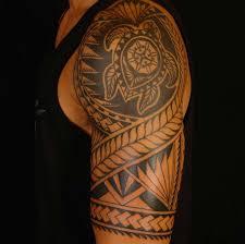 Awesome Hawaiian Tribal Turtle Tattoo On Left Half Sleeve For Men