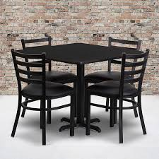 Flash Furniture 36'' Square Black Laminate Table Set With 4 Ladder Back  Metal Chairs - Black Vinyl Seat 5 Pcs Black Metal Frame Marble Finished Top Ding Table Set 5piece Brown Wood Chairs With Cushions Kitchen Tables Winsome Fniture Iron Woodard Quick Ship Cafe Series Wrought Chair In Textured 39 Blueribbon High Back Wooden Costway Piece Breakfast Cramco Trading Company Starling Round Glass Pub W Only By Inc At Value City Details About Tempered And 36 Natural Laminate Grid Vinyl Seat Seats 4 Ktaxon Leather Chairsglass Room Fnitureblack Small And Design Ideas