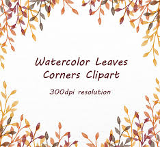 Hand Drawn Leaves Corners Clipart floral frame leaves clipart autumn clipart autumn corner Borders leaves Personal and mercial Use