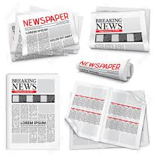 Set Of Newspaper Icons On White Background With Headlines And Text Articles Breaking News Theme
