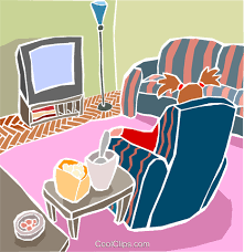 living room chair with television set royalty free vector