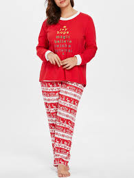2018 Plus Size Christmas Print Long Sleeve Pajamas In Red 5x ...