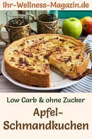 low carb apfel schmandkuchen mit pudding rezept ohne zucker