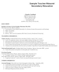 Resume Sample For Secondary Teachers Combined With Teacher High School Education On