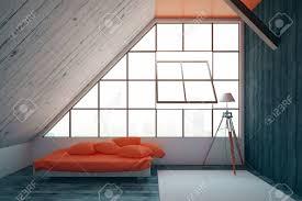 moderne schlafzimmer interieur mit roten bett gerahmte fenster mit blick auf die stadt holzwände teppich auf dem boden und eine le 3d rendering
