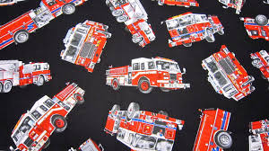100 Black Fire Truck Timeless Treasures Cotton Fabric Called Tossed Etsy