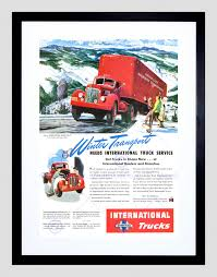 100 International Truck Parts AD CAR AUTOMOBILE CLASSIC TRUCK WINTER INTERNATIONAL FRAMED PRINT
