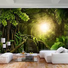 details zu vlies fototapete wald jungel 3d effekt tapete wandbilder wohnzimmer
