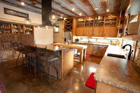 Rustic Corrugated Metal Ceiling Kitchen With Island Vent Hood Tin Concrete Countertops