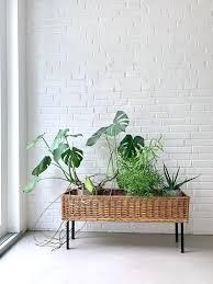 vintage blumenbank pflanzenständer korb mid century