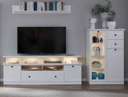 wohnwand in weiß wohnzimmer landhaus wohnkombination lowboard highboard regal baxter