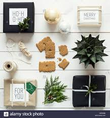 Elegant Nordic Retro Christmas Wrapping Station Desk View From Above DIY Xmas Concept