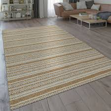 wohnzimmer teppich braun beige ethno design streifen orient