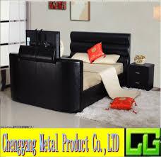 modernes doppeltes kunstleder tv bett für schlafzimmer möbel buy moderne faux leder lift up tv bett doppel größe schwarz tv bett rahmen tv bett für