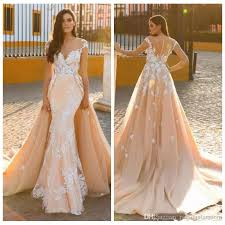 Middle East 2018 Wedding Dresses Mermaid Bridal Gowns Sexy Lace Overskirts Berta Luxury Dress Detachable