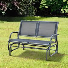 Outsunny Patio Furniture Canada outsunny outdoor textilene double swing bench grey aosom co uk