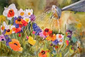 Spring Flowers With Watercan