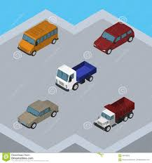 Isometric Car Set Of Auto, Freight, Lorry And Other Vector Objects ...
