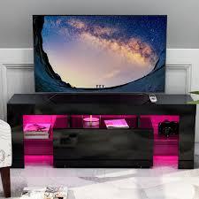 tv lowboard hängeboard board schrank für wohnzimmer wandschrank mit hochglanz mit led 130 x 45 x 35 cm b x h x t schwarz