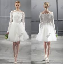 Vintage Lace Long Sleeves Monique Lhuillier Spring 2014 Short Wedding Dresses Knee Length Beach Backless Dress Little White Bridal Online With