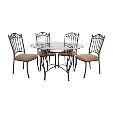 72% OFF - Wrought Iron Round Glass Table And Chairs / Tables