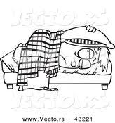 Tired Cartoon Boy Lying In Bed With A Pillow Over His Head