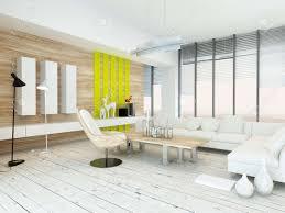 rustikale holzfurnier wohnzimmer innenraum mit naturholzcouchtisch und wandplatten und weiß lackiert holzdielen gelben akzenten und großen