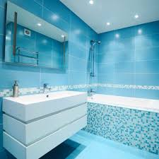 Light Blue Subway Tile by Bathroom Colors Vintage Blue Brown Accent Wall Sink Vanity Light