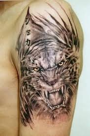 Chinese Symbols And Black Grey Tiger Tattoo On Shoulder