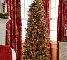 Slimline Christmas Trees 7ft by 7 U0027 Glittery Bristle Pine Incandescent Slim Tree By Valerie Page