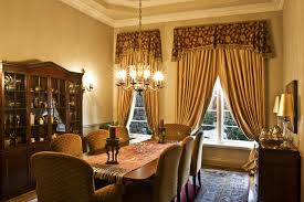 Traditional Formal Dining Room With Gold Curtains And Patterned Valances Upholstered Chairs Large Rug