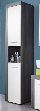 badezimmer hochschrank miami weiß rauchsilber 36x184 cm