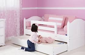 Simple Kid Bedroom with White Trundle Toddler Bed Girl Bed Safety