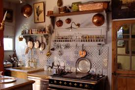 KitchenRustic British Country Kitchen With Coffered Wood Ceiling And Shabby Island