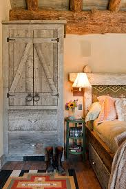 Bedroom Decor In Rustic Style With Platform Bed Storage A Barn Door Green Small Bedside