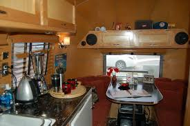1961 Airstream Globetrotter With Very Sharp Countertop And Cabinets In Galley