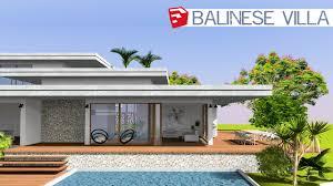 100 Modern Balinese Design Sketchup Speed Build MODERN BALINESE VILLA