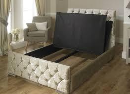 Velvet Super King Headboard by Luxury Monoco Crushed Velvet Fabric Upholstered Storage Bed 4