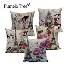 Vintage London Paris Cushion Cover Flower Pink Throw Pillow Cover