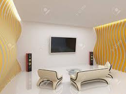 modern living room interior mit futuristischen möbel
