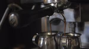 Vintage Coffee Machine Making Double Espresso