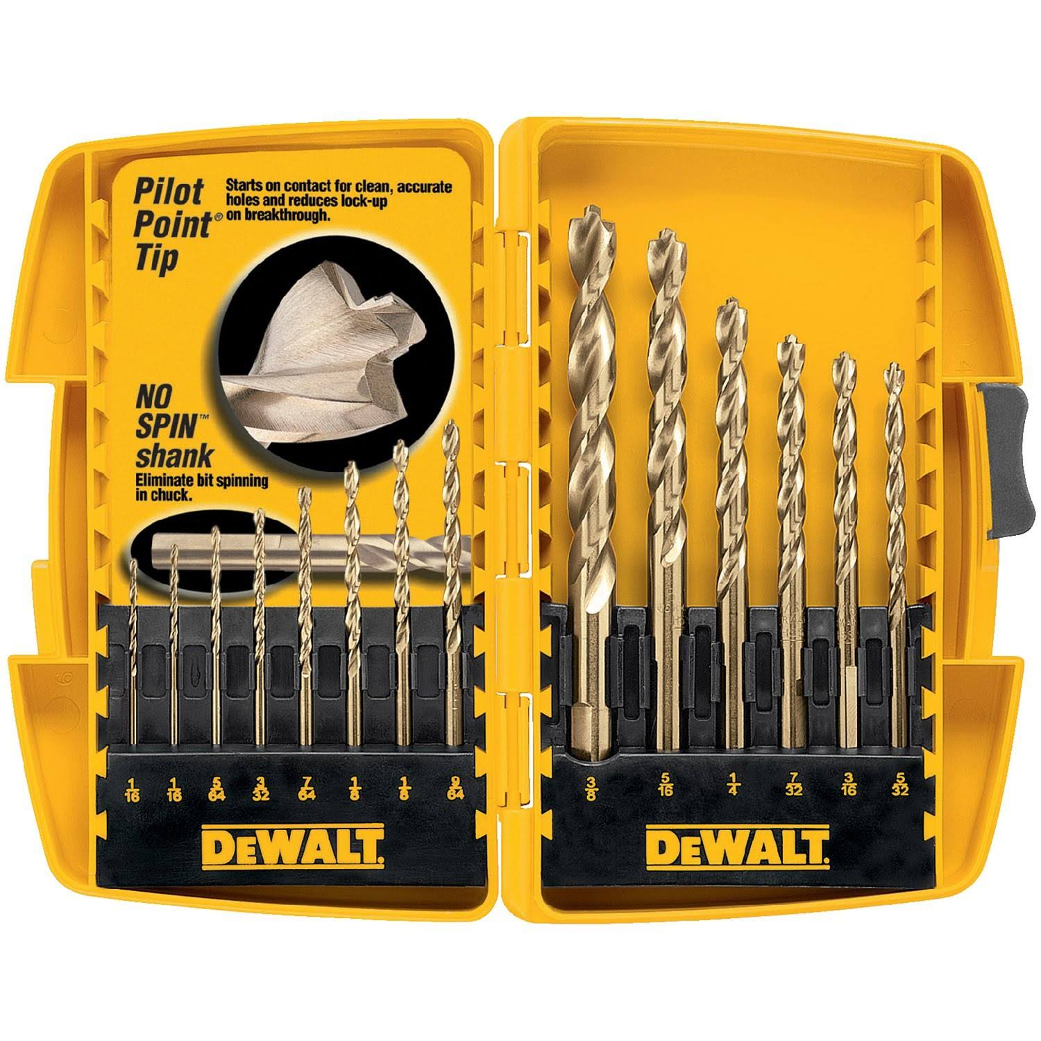 Dewalt Twist Drill Bit - 14 Pieces, Pilot-Point