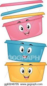 Vector Clipart Food container mascots Vector Illustration