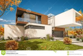 100 Contemporary Housing 3d Rendering Of Modern House By The River Stock Image